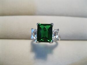 Vintage QVC 925 Sterling Silver Diamonique Simulated Emerald Ring Size M1/2