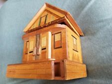 Vintage WOODEN PUZZLE BANK BOX TOY Wood House Marquetry Inlay SECRET COMPARTMENT