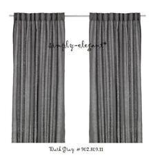 "IKEA Linen Pair of Curtains Dark Gray Aina Grey Panels 57 x 98 "" 902.809.11 NEW"