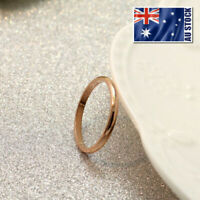 New 18K Rose Gold Filled Solid 2mm Thin Slim Classic Plain Band Wedding Ring