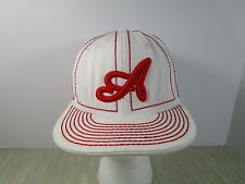 "Atlanta Braves Pitt Bull Acrylic Ball Cap Hat white w/ red size XL 55 cm 6 7/8"""
