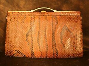 Vintage snakeskin bag circa, caramel Brown Rare Bag snakeskin leather, 11*7 Inch