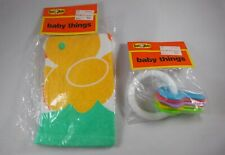 Vintage The First Years Baby Things Lot Teething Blanket and Keys Brand New!