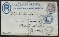 13 Aug.1897-2d.Registered Letter Uprated With 1d.Lilac-From WOODBRIDGE. Ref.1136