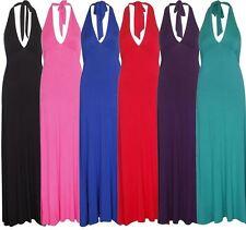 Viscose Halter Neck Long Plus Size Dresses for Women