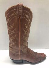 Tony Lama Boots Women's Size 8 B  Narrow Brown Leather Exotic Skin Style J4347