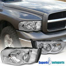 2002-2005 Dodge Ram 1500 2500 Crystal Clear Headlight Head Lamps Chrome