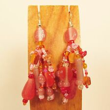 "2"" Pink Multi Color Mixed Bead Bohemian Style Handmade Dangle Seed Bead Earring"