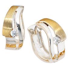JOBO Creolen 925 Sterling Silber bicolor vergoldet mattiert 2 Zirkonia Ohrringe