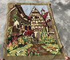 Vintage France / European Tapestry Needlepoint Rug / Mat 1.4 x 1.0 Ft (3868 KBN)