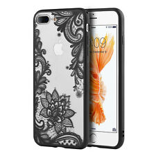 for iPhone 7+ / 8+ PLUS - Hard TPU Gummy Rubber Case Cover Black Lace Flowers