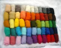165 gr / 5.82 oz Sheep Wool Fiber for Needle Felting, Knitting set of 55 colors