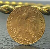1909 France Gold Coin 20 Francs Paris France Coin, Marianne