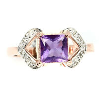 Unheated Princess Purple Amethyst 7mm White Cz 925 Sterling Silver Ring Size 8