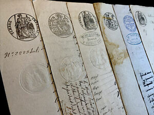 LOT OF SIX STAMPED DOCUMENTS 1800s