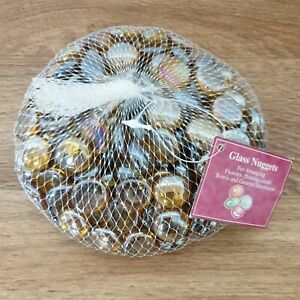 Shimmery Gold Glass Nuggets for Crafts, Flower Arranging. Floating Candles 812g