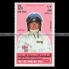 ★ JACKIE STEWART Pilote F1 (Formula One) ★ YEMEN 1969 Timbre Auto / Stempel #1