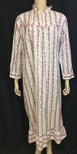 Vintage Flannel Nightgown Robe M 12-14 Modest Sanforized Housecoat Lounge Floral