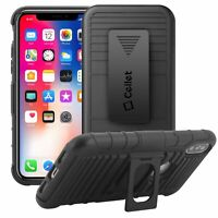 Apple iPhone X Swivel Belt Clip Shell Holster Case Cover & Media Kickstand