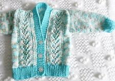 New hand-knitted cardigan, blue, white, turquoise 3-6 mnths