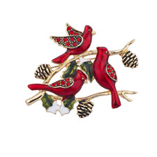 Lux Accessories Holiday Christmas Xmas Red Bird Cardinal Rhinestone Brooch Pin