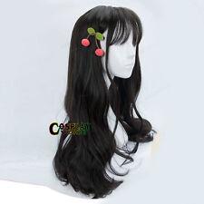 60CM Lolita Long Wavy Black Japanese Young Party Hair Cosplay Wig Thin Bang