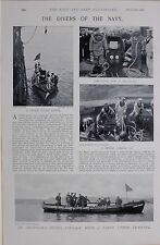 1897 BOER WAR NAVY DIVERS DRESSING FOR DESCENT COMING UP GOING DOWN PINNACE