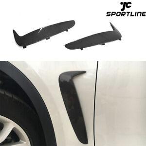 Fit For BMW X6 F16 15-17 Side Air Duct Vent Fender Trims Black Carbon Fiber 2PCS