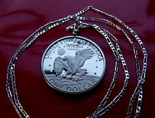 EISENHOWER EAGLE PROOF USA DOLLAR Coin Pendant on a .925 Sterling Silver Chain