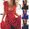 Women Summer Dot Print V Neck Party Evening Beach Long Maxi Dress Wrap Dresses