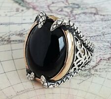 Claw Solid 925 Sterling Silver Mens Ring Black Agate Gemstone HandMade Turkish