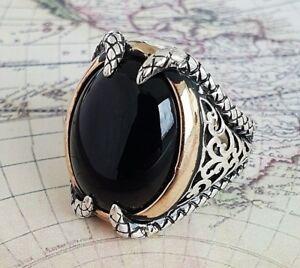 Klaue Solide 925 Sterling Silber Mens Ring Schwarz Achat Edelstein Handgefertig