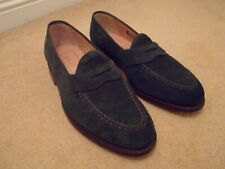 NEW BARKER ENGLAND GREEN SUEDE LEATHER PENNY SLIP ON LOAFER SHOES UK 7 F EU 41