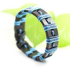 Genuine Leather Bracelet Men's Unisex Wrap Tribal Black Bluw Adjust 7-9 in H17