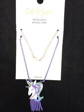 Girls Unicorn Necklace & Pink Faux Pearl Necklace Cat and Jack