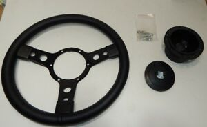 "New 13"" Leather Steering Wheel & Hub Adaptor Triumph TR4 TR4A TR6  Black Spokes"