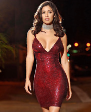 Women Sexy Sleeveless V-neck Sparkling Cocktail Evening party Sequin Mini Dress