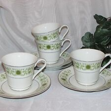 TOWNE HOUSE GREEN DALE CUPS & SAUCERS 3077 FLOWERS SET OF 4 FINE CHINA JAPAN LOT