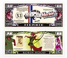 Set of 2 different Disney fantasy paper money Robin Hood and Herbie