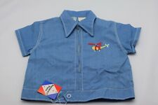 Vintage Baby Togs Creation Baby Shirt 18 Months Blue Zip Down Helicopter