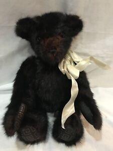 DARK BROWN FUR 15 INCH JOINTED TEDDY BEAR HANDMADE