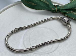 Pandora 18.5cm Classic Sterling Silver Charm Bracelet 925 ALE 590702HV Genuine