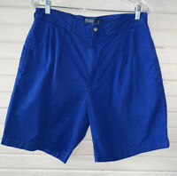 POLO RALPH LAUREN Tyler Shorts Sz 34 Bright Blue Pleated Classic Chino Cotton