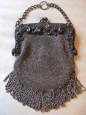 Antique Victorian Art Nouveau Steel Micro Bead Suede Chatelaine Kilt Purse #347