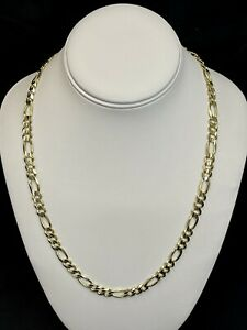 """14k Gold Concave 7.5mm Solid Figaro HEAVY Chain 22"""" 38.8g"""
