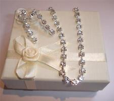 Brillante Diamante Cristal Individual Hilos Juego De Collar Y Pendientes