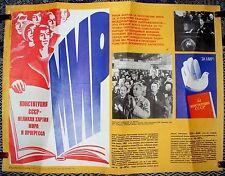 1981 ORIGINAL SOVIET RUSSIAN PROPAGANDA POSTER CONSTITUTION USSR PEACE BREZHNEV