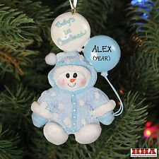 New Kurt Adler Snowman Baby`s Boy 1st Personalized Christmas Tree Ornament