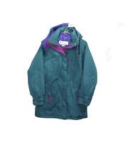 NOS Vtg 90s Columbia Womens Medium Spell Out Hooded Winter Parka Jacket Green
