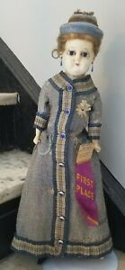 """**Antique Wax Over Composition Doll, Glass Blue Eyes Brown Hair 23"""" First Place*"""